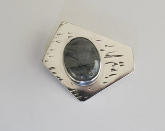 Brooch: Sterling Silver, Tourmalated Quartz