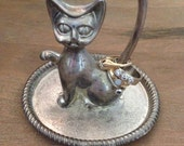 Vintage Ring Holder, Jewelry Organizer, Kitty Cat, Vintage Kitty, Jewelry Holder, Jewelry Dish, Cat Lady, Silver Ring Holder, Ring Stand