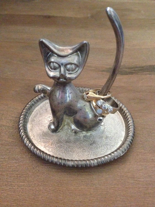 Amigurumi Kitty Ring Holder : Vintage Ring Holder Jewelry Organizer Kitty Cat by CHICaDees