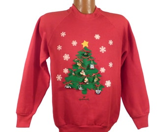 Ugly Christmas Sweater Vintage Sweatshirt Hallmark Ornaments 1993 Party Xmas Tacky Holiday M