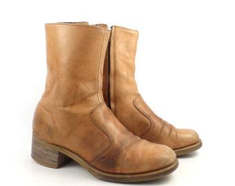 Leather Campus Boots Vintage 1970s Short Ankle men's size 9 1/2