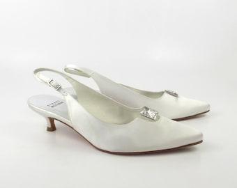 Satin White Heels Vintage 1980s Stuart Weitzman Leather Shoes Wedding Jeweled Women's size 7 1/2