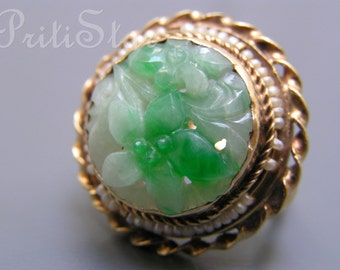 Art Deco Dinner Ring . Chinese Carved Jade Seed pearl gold jewelry