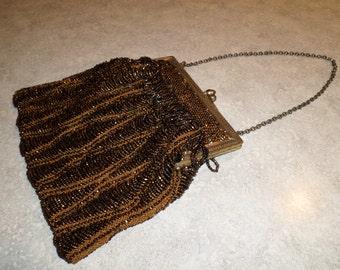 antique seed bead formal evening purse woven hematite tiger eye beads satin lined original mirror Flapper Bag