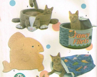 Kitty Cat Beds Fish Pillow, Sack, Catfood Can Shape bed for Feline Pets Animal Playroom Craft Supply Simplicity 5233 Sewing Pattern