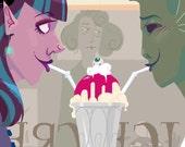 FIRST DATE 8.5 x 11 in Cute Monster Girl Art Print