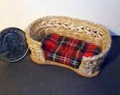 Miniature Woven Wicker Pet Bed  1:12 scale