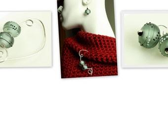 Grace Bead Lampwork Shawl Pin, Scarf Pin, Brooch - Party Rondelle Lampwork Beads in Gray - Shawl Pin and Earring Gift Set