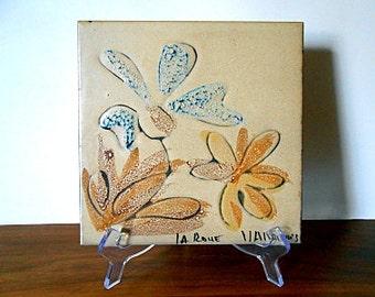 Modernist Vallauris La Roue Ceramic Floral Tile, Beige, Yellow, Blue, Flowers