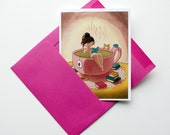 Cozy Tea Bath Girl - cute blank greeting card with envelope