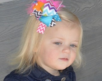 """5.5-6"""" Orange, Hot Pink, Green Black & Blue Funky Hair Bow-Over The Top Bow"""