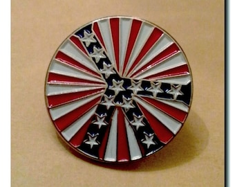 1960s-70s Hippie Woodstock NY Novelty PEACE STARS Red White and Blue Pin