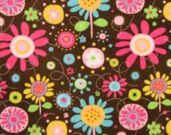 Flower Fun Brown Pink Minky Cuddle Fabric - 3 yards