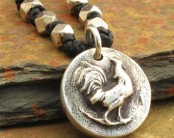 Fine Silver Irish Linen Necklace - Little Rooster