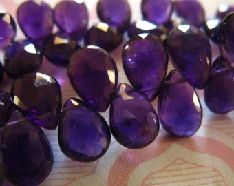 Shop Sale.. 6 12 24 pcs, AMETHYST Pear Briolettes Beads, Luxe AAA, 7-9 mm, Royal Purple Amethyst, faceted, february birthstone 79 tr