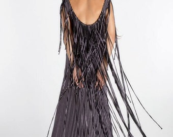 Striped Fringe Tassel Stretch Cotton Dress Couture WAS 300
