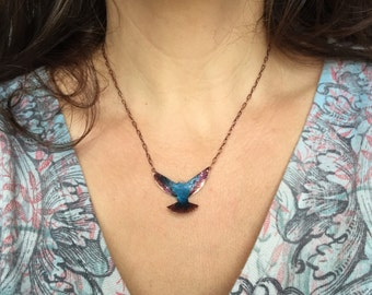 Small copper bird necklace with Caribbean blue over black patina