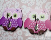 Set of 2 Pink and Purple Owls Girls Clothes Peg Rack Clothing Racks for Kids Bedroom Baby Nursery