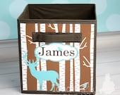 Deer Silhouette Fabric Bin Boy's Bedroom Baby Nursery Organizer for Toys or Clothing FB0042