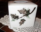 Rustic Pine Cones OR Purple Dragonfly Tissue Box Cover/ kleenex box /tissue cover/Original design/rustic/cabin/woods