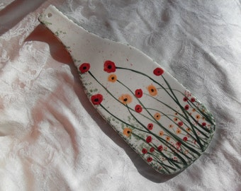 Wine Bottle Trivet with Poppies and more Poppies/wall hanging/nature/flowers