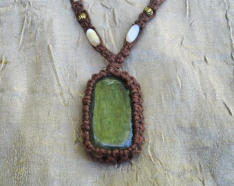 Jade Wrapped Tranquility and Determination Hemp Necklace