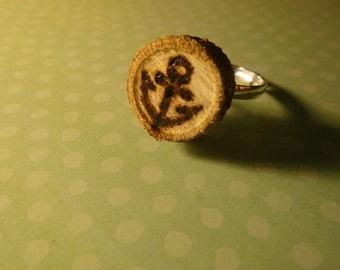 Wood Burned Anchor Ring