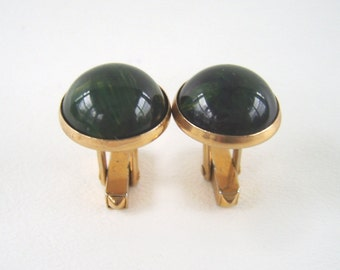 Vintage Swank Gold & Green Cuff Links Forest Green
