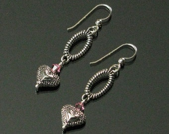 Silver Heart Earrings, Pink Crystal Long Earrings, Heart Jewelry, Valentine's Day Gift, Unique Jewelry Gift for Women, Valentine Earrings
