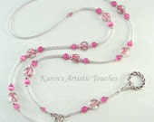 Cancer Awareness Clear Beaded Lanyard Custom Ribbon Color