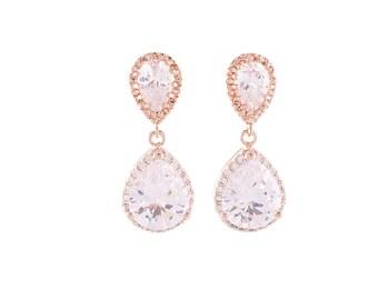 Rose Gold Earrings, Bridal Crystal Earrings , Gold Wedding Earrings , Rose Gold Crystal Earrings , Bridesmaid Earrings , Bridal Jewelry