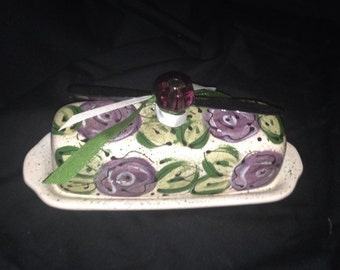 Purple cabbage rose Butter Dish with glass knob