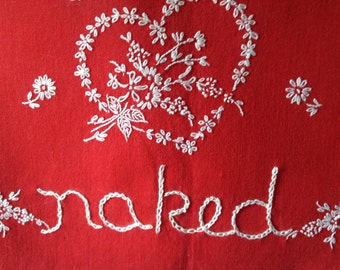 Dreaming of You Naked, Hand embroidered, Modern tapestry, Girlfriend gift, Valentine, Boho bedroom