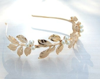 Pearl Bridal Headband, Greece Goddess, Wedding Crown, Golden Headband, Bridal Headpiece,Vintage Headpiece