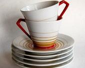 Vintage Noritake China, Nippon Toki Kaisha Mid Century Cups and Saucers