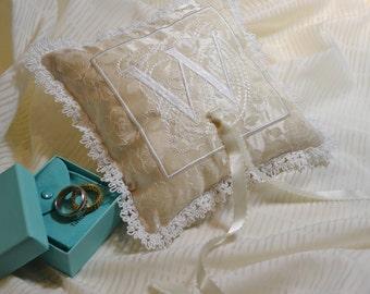 wedding ring pillow embroidery monogram bridal something blue padrino de cojines madrina silk antique trim