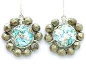 Pyrite & roman glass matching silver earrings