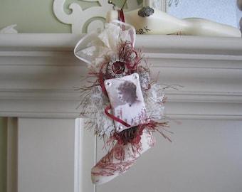 Love Decoration - Love Ornament - Red Toile Ornament - Vintage Lady Decor