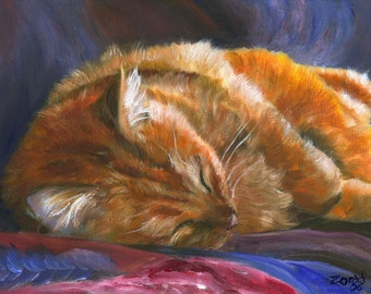 Orange Tabby Cat Print by Mary Jo Zorad Washington Artist