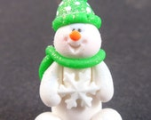 Green Glittery Miniature Snowman with Snowflake, Whimsical, Winter, Christmas Ornament, Holiday Ornament