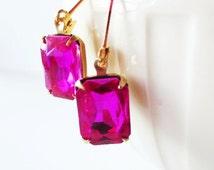 Jewel earrings. Fuchsia earrings.  Rectangle earrings.  Vintage earrings.  Estate earrings.  Hot pink earrings.  Leverback earrings.