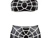 Miss Venom Spiderweb Latex Lingerie Swimwear Set