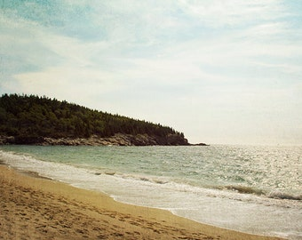 Beach Landscape Photograph, Beach Photography, Nature Mountains, Maine Coast, Acadia National Park, Woodland, Nautical, Seaside Wall Art