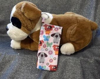 Pet Mess Plastic Bag Holder, Pink Puppies N Butterflies Print, Small