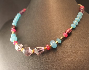 The Francesca Ruby, Amethyst, Aqua Blue Quartz, Pyrite and Pearl Necklace with Bali Vermeil Beads and Clasp