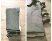 Grey Knit & Khaki Canvas . Reversible . Youth . Sleeping Bag / Blanket - with Carrying Bag