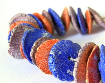 set of 3 beads, Red, blue  and purple beads, handmade ceramic beads, coolvintage, jewelry art, unique, for earrings and necklaces