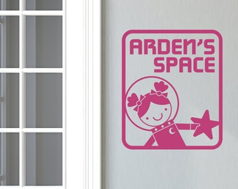 Space Girl Name Room Sign Wall Decal Outer Space Cute Astronaut Personalized Room Decor