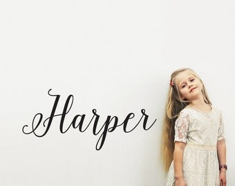 Girls Script Name Wall Decal: Personalized Nursery Room Decor Calligraphy Script Font