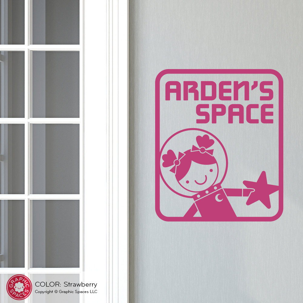 Space girl room sign wall decal outer space theme room for Outer space vinyl wall decals